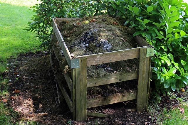 Composteur au fond du jardin