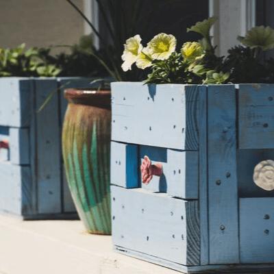 pots de fleurs bleu fait main